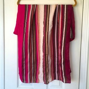Light knit striped scarf with sparkle thread